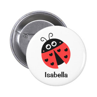Cute Red and Black Ladybug with hearts for Girls 6 Cm Round Badge