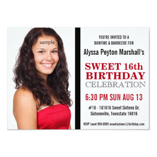 Cute Red and Black Mod Text Photo Sweet 16 Party 11 Cm X 16 Cm Invitation Card