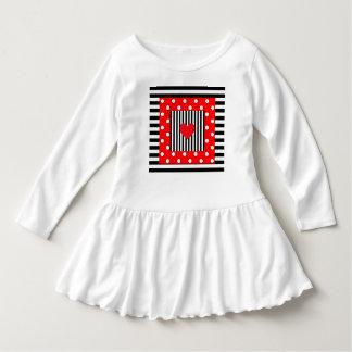 Cute red and black stripes, polka dots pattern dress