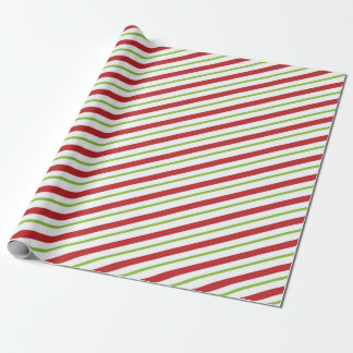 Cute Red and Green Peppermint Candy Cane Wrapping Paper