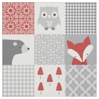 Cute Red and Grey Woodland Animals Patchwork Fabric