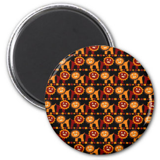 Cute Red and Orange Lions Jungle Pattern 6 Cm Round Magnet