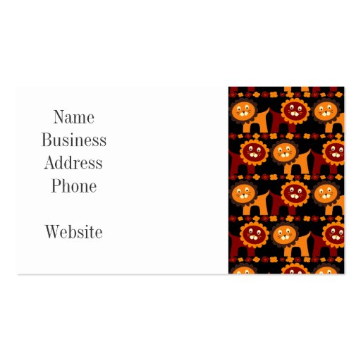 Cute Red and Orange Lions Jungle Pattern Business Card