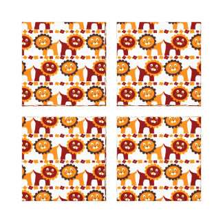 Cute Red and Orange Lions Jungle Pattern White Gallery Wrap Canvas
