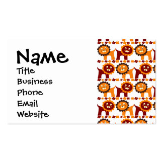 Cute Red and Orange Lions Jungle Pattern White Pack Of Standard Business Cards