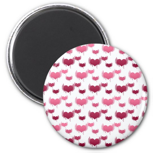 Cute Red and Pink Hearts with Wings 6 Cm Round Magnet