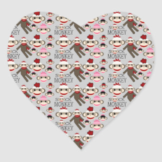 Cute Red and Pink Sock Monkeys Collage Pattern Heart Sticker
