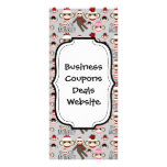 Cute Red and Pink Sock Monkeys Collage Pattern Rack Cards