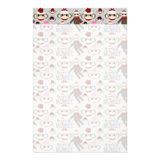 Cute Red and Pink Sock Monkeys Collage Pattern Stationery