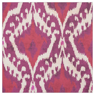 Cute red and purple ikat tribal pattern fabric