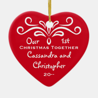 Cute red and white First Christmas together heart Ceramic Heart Decoration