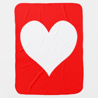 Cute Red and White Heart Shape Baby Blanket