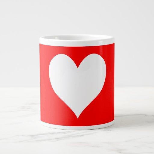 Cute Red and White Heart Shape Jumbo Mugs