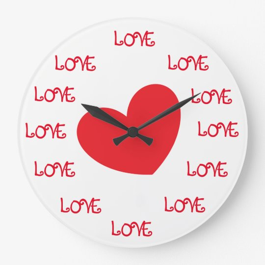 Cute Red and White LOVE Heart Wall Clocks