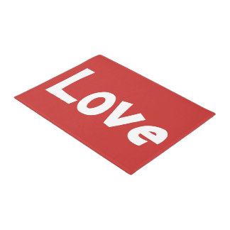 Cute Red and White Love Word Print Doormat