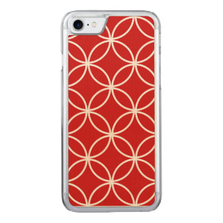 Cute Red and White Pattern Geometric Circles Carved iPhone 8/7 Case