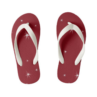 Cute Red and White. Stars Kid's Flip Flops