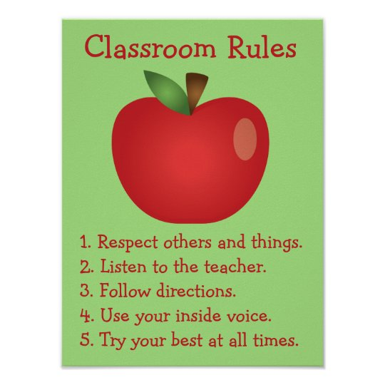 Cute Red Apple Custom Classroom Rules Poster