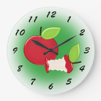 Cute Red Apples Kitchen Large Clock