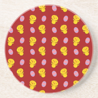 Cute red baby chick easter pattern drink coaster