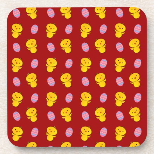 Cute red baby chick easter pattern beverage coaster
