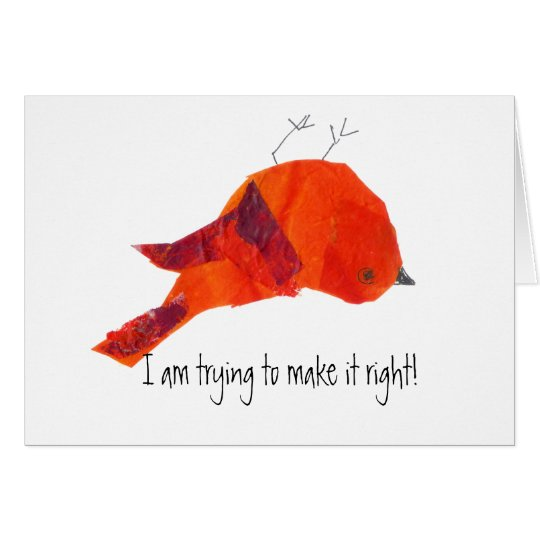 Cute Red Bird Forgive Me Card