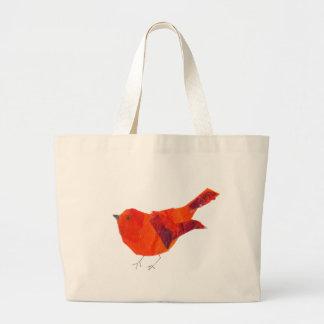Cute Red Bird Large Tote Bag
