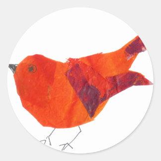 Cute Red Bird Round Sticker