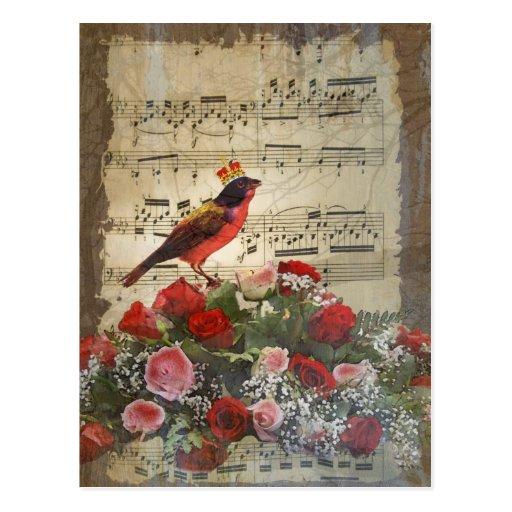Cute red bird & vintage music sheet post card
