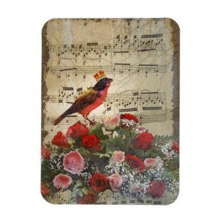 Cute red bird vintage music sheet rectangle magnet