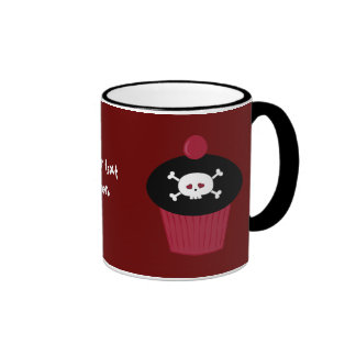 Cute Red & Black Skulls & Cupcakes Personalized Mug