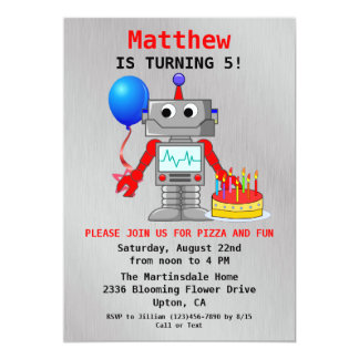Cute Red, Blue & Gray Robot Birthday Invitation