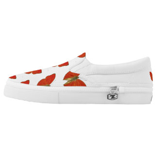 Cute Red But Zipz Slip On Shoes, UK: 3 / EUR: 35.5