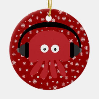 Cute Red Cartoon DJ Jellyfish & Snowflakes Christmas Ornament