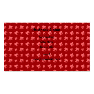 Cute red cat pattern business card templates