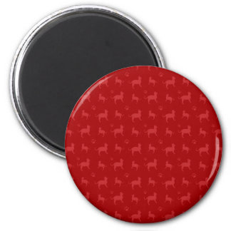 Cute red cats and paws pattern 6 cm round magnet