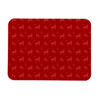 Cute red cats and paws pattern vinyl magnet