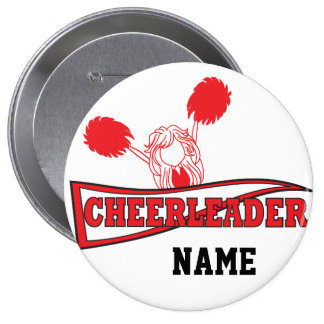 Cute Red Cheerleader Girl   DIY Name 10 Cm Round Badge