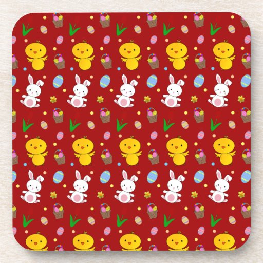 Cute red chick bunny egg basket easter pattern beverage coaster