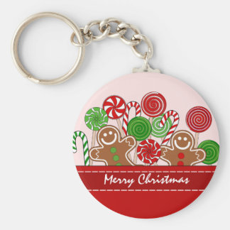 Cute red Christmas gingerbreads Key Ring