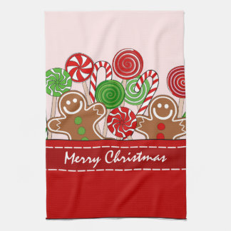 Cute red Christmas gingerbreads Tea Towel