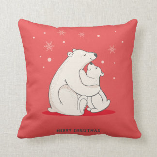 Cute Red Christmas Polar Bears Cushion