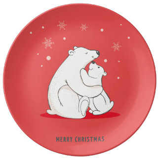 Cute Red Christmas Polar Bears Plate
