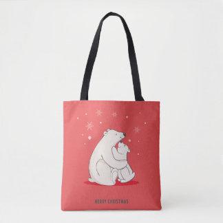 Cute Red Christmas Polar Bears Tote Bag