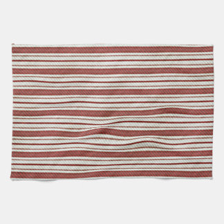 Cute Red Country Farmhouse Linen Stripes Pattern Towels