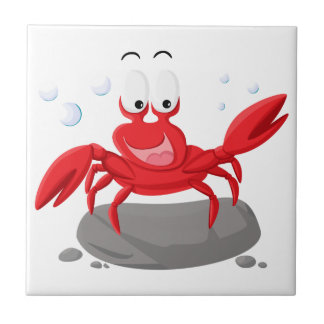 Cute red crab small square tile