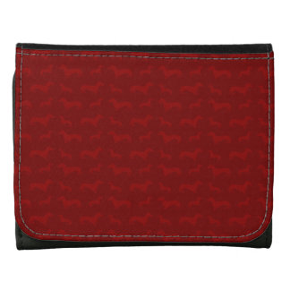 Cute red dachshund pattern leather wallets