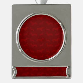 Cute red dachshund pattern silver plated banner ornament