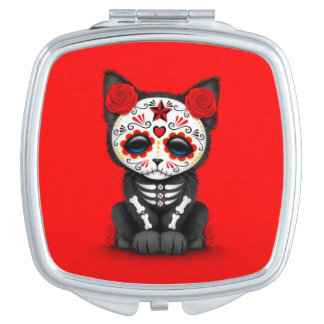 Cute Red Day of the Dead Kitten Cat, red Mirror For Makeup