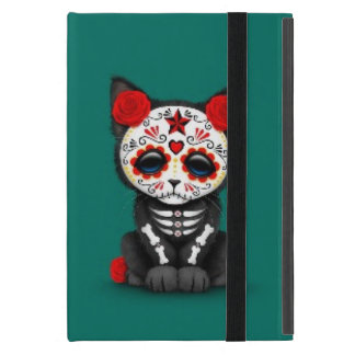 Cute Red Day of the Dead Kitten Cat, teal blue Case For iPad Mini